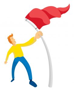 Cartoon illustration of man holding a red flag conquering objectives