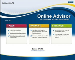 Tips on Taxes and Tax Planning – Bakken CPA is Your Online Advisor